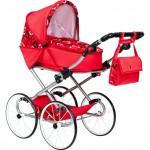 Detský Retro kočík pre bábiky 2v1 New Baby Elen červený so srdiečkami