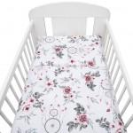 2-dielne posteľné obliečky New Baby 100/135 cm biele kvety a pierka