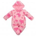 Zateplená dojčenská kombinéza s kapucňou Baby Service Slony ružová