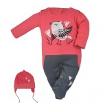 3-dielna bavlnená detská súprava Koala Birdy tmavo ružová