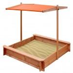 Detské drevené pieskovisko so strieškou NEW BABY 120 x 120 cm oranžové